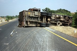 Overturned truck on an highway